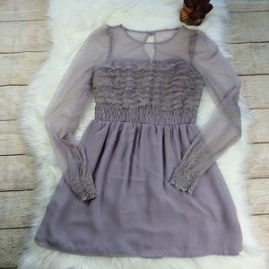 Free People Romantic Lilac Long Sleeve Dress Sz 0